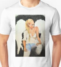 Unfinished drawing of fashionable girl angel  T-Shirt