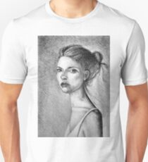 Drawing illustration of beautiful girl portrait  T-Shirt