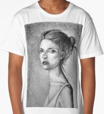 Drawing illustration of beautiful girl portrait  Long T-Shirt