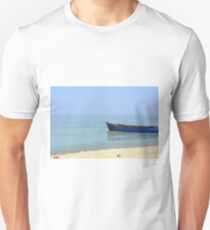Blue boat in the sea at the shore T-Shirt
