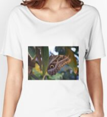 Beautiful natural background with colorful brown butterfly  Women's Relaxed Fit T-Shirt