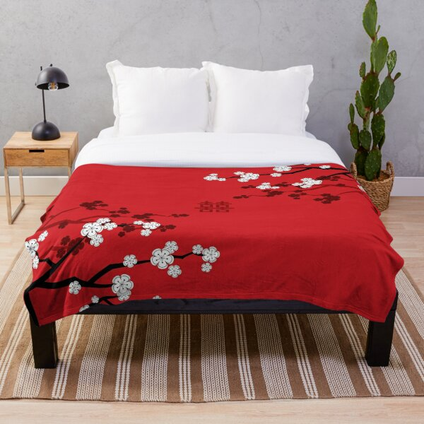 White Oriental Cherry Blossoms on Red and Chinese Wedding Double Happiness | Japanese Sakura © fatfatin  Throw Blanket