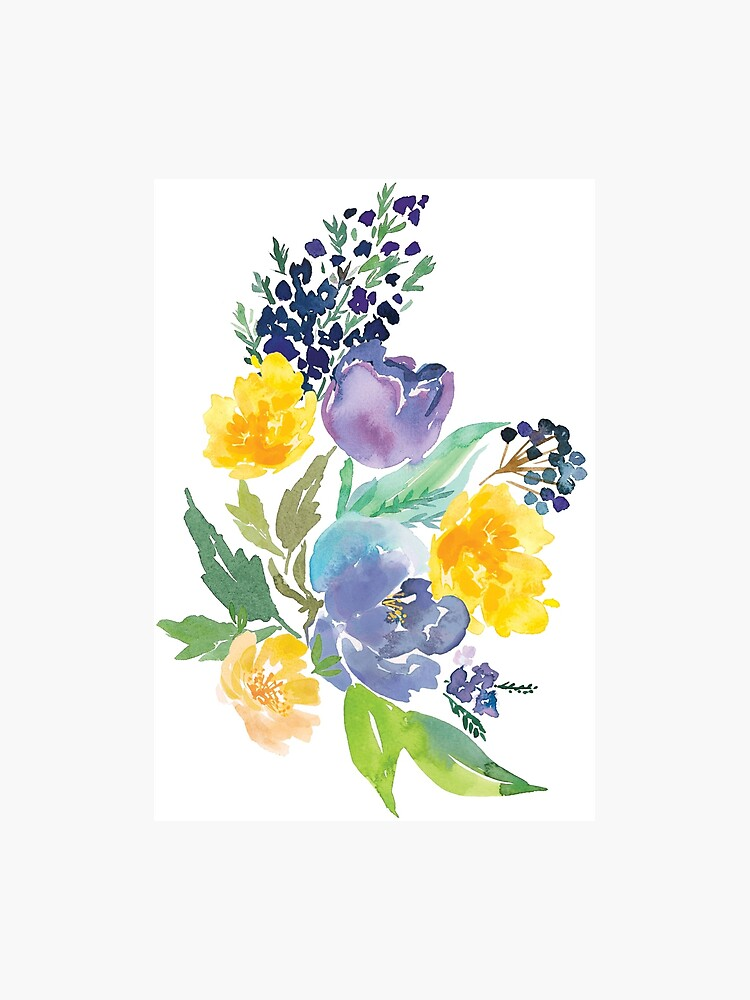 Watercolor Flowers Blue Yellow Photographic Print By Junkydotcom