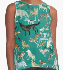 Wolves of the World (Green pattern) Contrast Tank