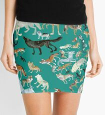 Wolves of the World (Green pattern) Mini Skirt