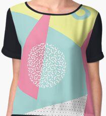 Geometric pattern in memphis 80s style. Women's Chiffon Top