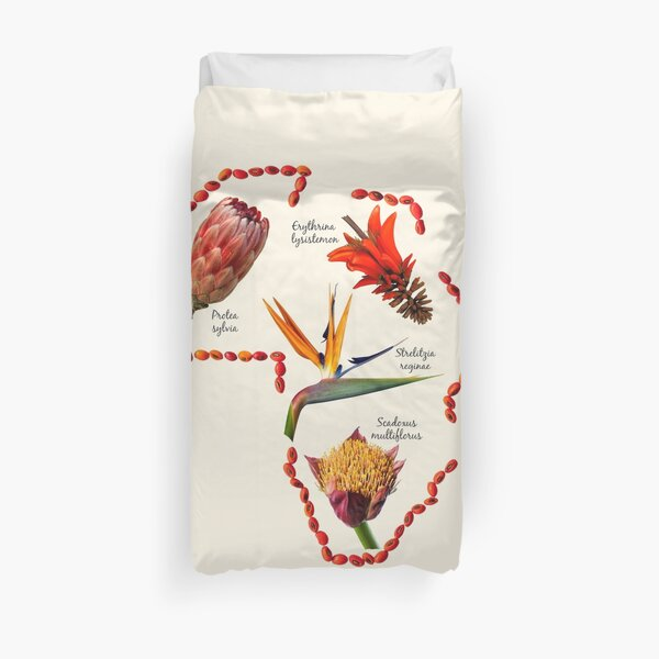Indigenous Flowers within Shape of Africa Duvet Cover