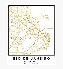 RIO DE JANEIRO BRAZIL CITY STREET MAP ART Photographic Print