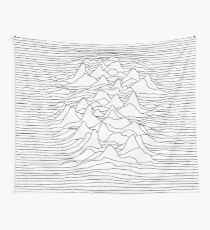 Black and white graphic - sound wave illustration - white Wall Tapestry