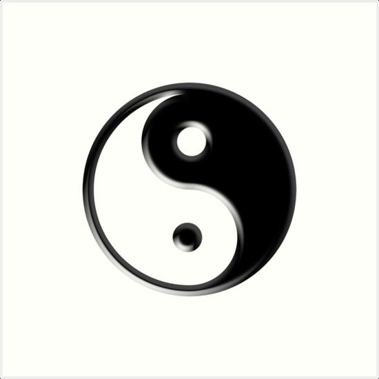 Black Yin Yang Symbol Art Prints By Tigerlynx Redbubble