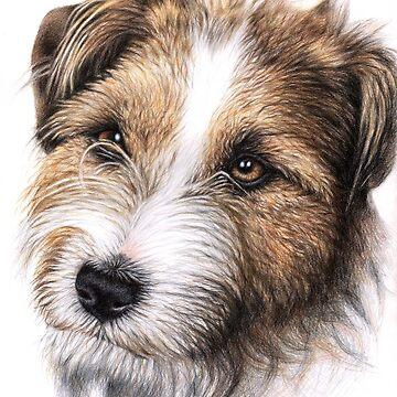 Jack Russell Terrier Portrait by ArtsandDogs
