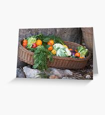 fruit and vegetables in the basket Greeting Card