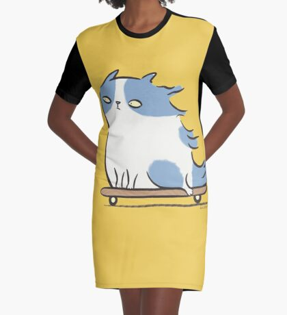 Speed Demon - Skateboarding Kitty Cat Graphic T-Shirt Dress