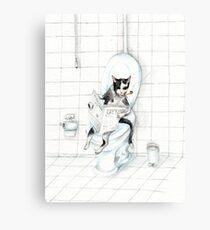 Katze, die Zeitung auf der Toilette liest - stören Sie nicht Zeichen Leinwanddruck