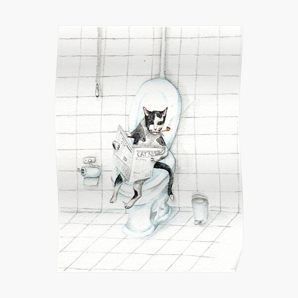 Cat Reading Newspaper on the Toilet - Do not disturb sign Poster