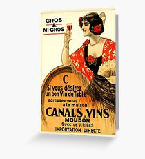Young woman holding a glass, French wine, vintage label, sticker Greeting Card