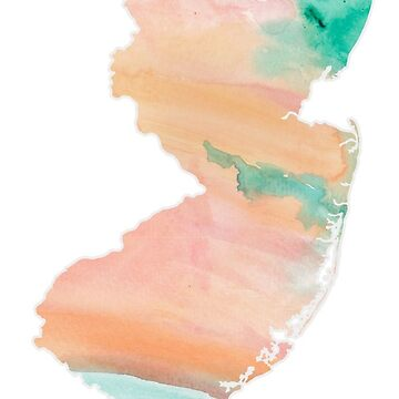 watercolor new jersey nj silhouette  by caseyward