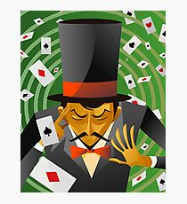 top hat magician poker cards magic trick Photographic Print