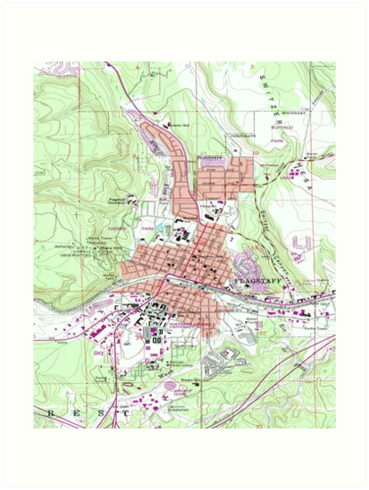 Map Of Flagstaff Arizona.Vintage Map Of Flagstaff Arizona 1962 Art Prints By Bravuramedia