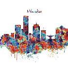 Milwaukee Watercolor Skyline by Marian  Voicu