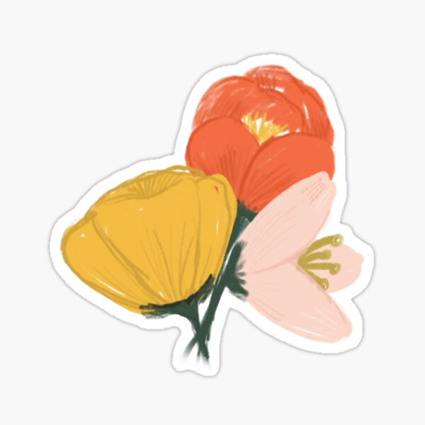 Gouache Painted Flowers Sticker