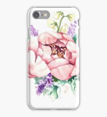 Peony Bouquet Floral Motif with Roses and Sweet Peas iPhone Case/Skin