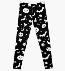 White Halloween Pattern Leggings