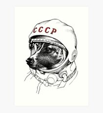 Laika, Weltraumreisende Kunstdruck