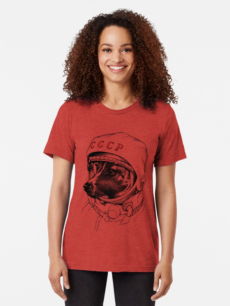 Alternate view of Laika, space traveler Tri-blend T-Shirt