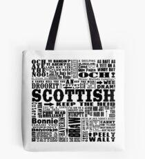Scottish Sayings Print Black Tote Bag
