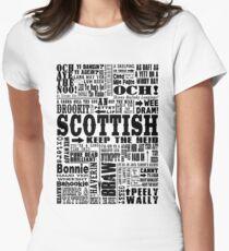 Scottish Sayings Print Black Women's Fitted T-Shirt