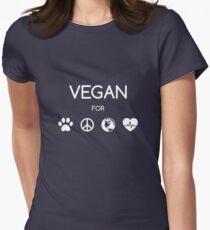Vegan for all! (weiß) Tailliertes T-Shirt für Frauen