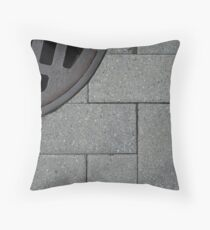 Sunny Grey - Sleepy Grate Throw Pillow