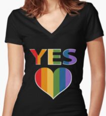 Yes to marriage equality Australia Women's Fitted V-Neck T-Shirt