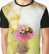 Purple Flower and Bee Graphic T-Shirt