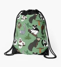 Lemur Pattern Drawstring Bag