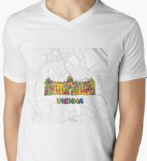 Vienna, Austria, Colorful Map Sign Men's V-Neck T-Shirt