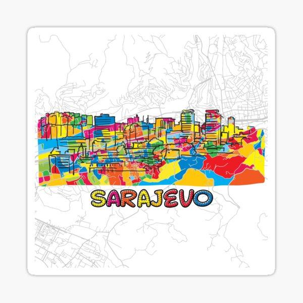 Sarajevo, Bosnia and Herzegovina, Colorful Map Sign Sticker
