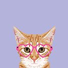 Mackenzie - Orange tabby cute girly cat with hipster glasses and purple pastel lavender for art prints cell phone trendy girls  by PetFriendly
