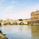 St Peter's Basilica and Castel Sant Angelo Rome by Ann Garrett