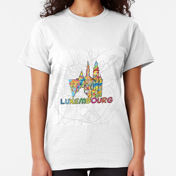 Luxembourg, Colorful Map Sign Classic T-Shirt