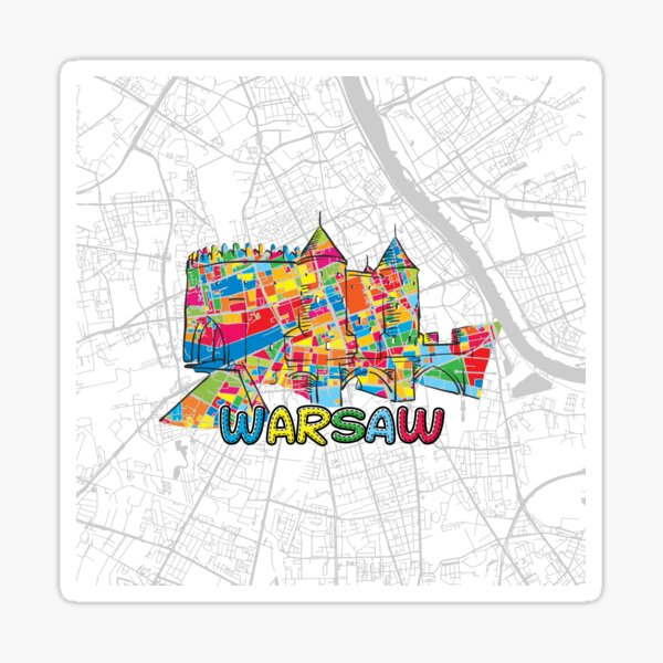 Warsaw, Poland, Colorful Map Sign Sticker