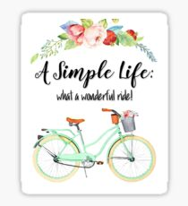 Simple Life Bicycle Print Sticker