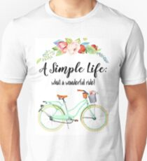 Simple Life Bicycle Print T-Shirt