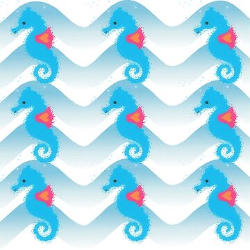 Seahorses And Blue Waves Pattern by Almdrs