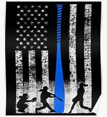 Softball Flag With Softball Players and Blue Bat Poster