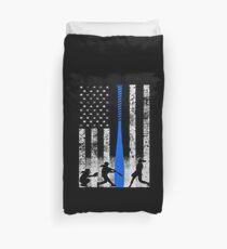 Softball-Flagge mit Softball-Spielern und blauer Fledermaus Bettbezug