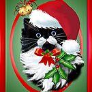 Tuxedo Kitty at Christmas by Lotacats