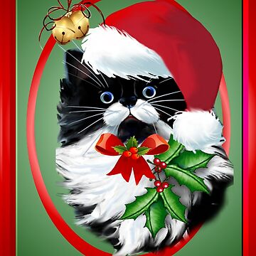 Tuxedo Kitty at Christmas by Lotacats