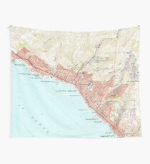 Vintage Map of Laguna Beach California (1965) Wall Tapestry